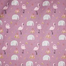 Lila tricot met olifanten en flamingo's