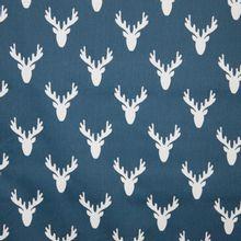 canvas met elandmotief jeansblauw