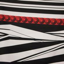 gesatineerde katoen met abstract motief rood/zwart