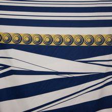 gesatineerde katoen met abstract motief blauw/oker