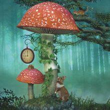 Fotopaneel hert/paddenstoel