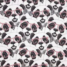 katoen tricot witte achtergrond met beren met bril en strik