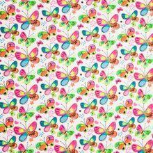 katoen tricot witte achtergrond met kleurrijke neon vlinders