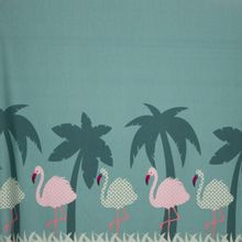 Tricot in munt met flamingoprint