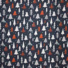 Donkergrijze french terry met kerstbomen en ijskristallen