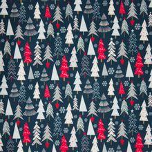 Blauwe tricot met kerstbomen