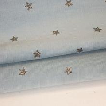 Blauwe ribfluweel met zilveren glitter sterretjes