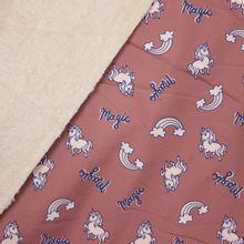 Kleur veranderende softshell oudroze met eenhoorns, ecru pelsje aan de binnenkant