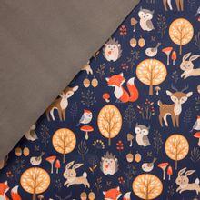 softshell donkerblauw met herfstmotief, grijze fleece aan de binnenkant