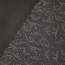 softshell donkergrijs met dino skeletten, fleece achterkant