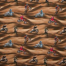 Bruine tricot met motor racers van Poppy