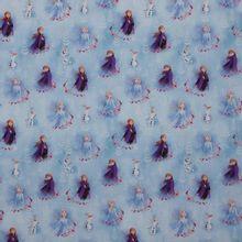Blauw katoentje met Frozen figuren