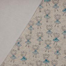Beige gemeleerde sweaterstof met ballerina muisjes, wit pelsje aan de achterzijde
