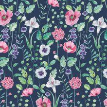 Blauwe french terry met bloemen van Poppy
