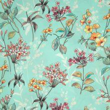 Turquoise Polyester Crêpe met Bloemen