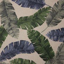 Lichtbruine canvas met groen, blauwe bladeren