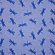 Blauwe Katoen Tricot met Libellen