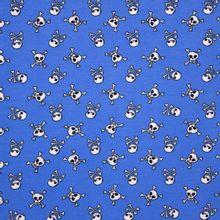 Blauwe Katoen Tricot met Doodshoofdjes