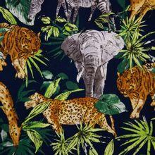Blauwe Viscose met Jungle motief