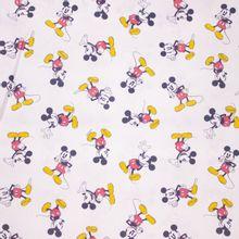 Witte Katoen met Mickey Mouse print