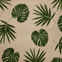 Lichtbruine canvas met groen bladeren