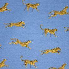 Blauwe French Terry met Luipaarden