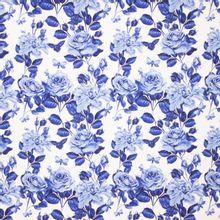 Witte Tricot met Blauwe Rozen