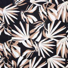 Zwarte Viscose Katoen met Wit/Bruin Bladpatroon van My Image