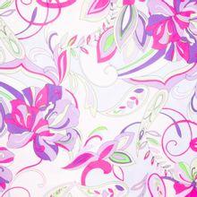 Witte Viscose met Felgekleurde Bloemen