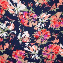 Zwarte Viscose met Gekleurde Bloemen