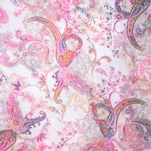 Witte Polyester met Roos Patroon