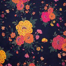 Zwarte Polyester met Oranjebloeiers