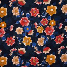 Zwarte Polyester met Bloemen