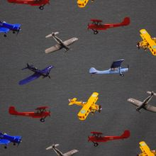 Donkergrijze Katoen Tricot met Vliegtuigen