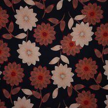 Zwarte Tricot met Rode en Witte Bloemen