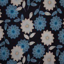 Zwarte Tricot met Blauwe en Witte Bloemen