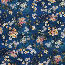 Blauwe Viscose met Bloemen