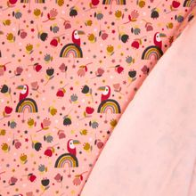 Roze Sweaterstof met Vogels en Regenbogen