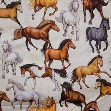 Beige Katoen met Paarden