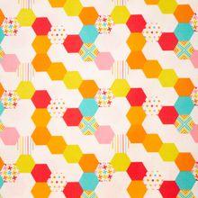 Witte Gespikkelde Katoen met Hexagon Patroon