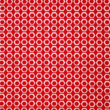Rode Katoen met Witte Hexagons