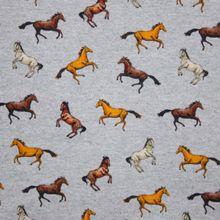 Grijze French Terry met Paarden