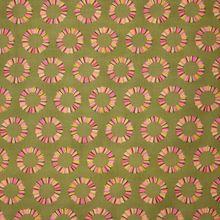 Kaki Groene Katoen met Gekleurde Cirkels