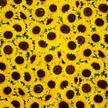 Zwarte Katoen met Zonnebloemen