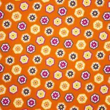 Oranje Katoen met Bloemenpatroon