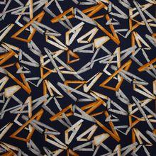 Donker Blauwe Polyester Viscose Stretch met Geometrisch Patroon