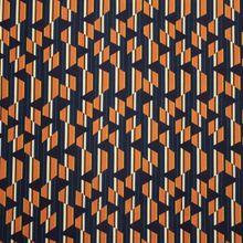 Blauw Gestreepte Viscose met Oranje Patroon