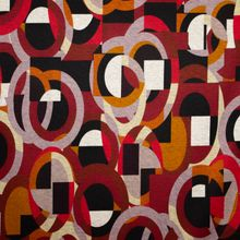 Polyester Viscose met Roodkleurig Geometrisch Patroon