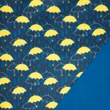 Blauwe softshell met gele parapluutjes