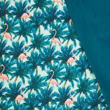 Munt softshell met palmbomen en flamingo's